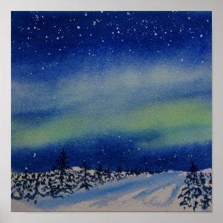 Poster L'aurore Borealis à la nuit et à la neige a