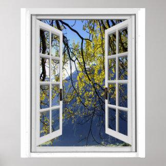 Poster L'automne d'automne laisse la fenêtre de Faux de