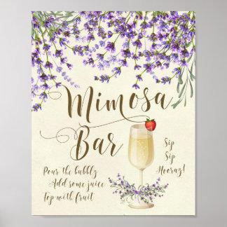 Poster Lavande pourpre lilas de signe de mariage de barre