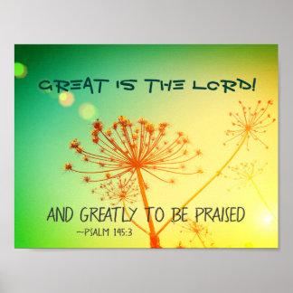 Poster Le 145:3 de psaume grand est le seigneur, vers de