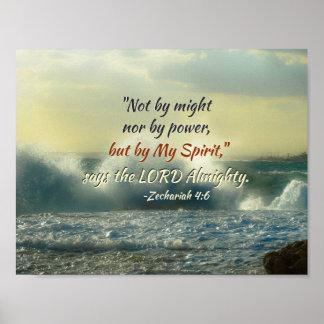 Poster Le 4:6 de Zechariah pourrait pas par ni par