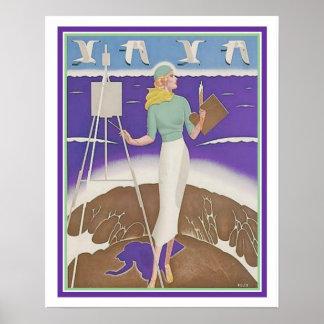"""Poster Le """"artiste sur la plage"""" la copie 16x20 de"""