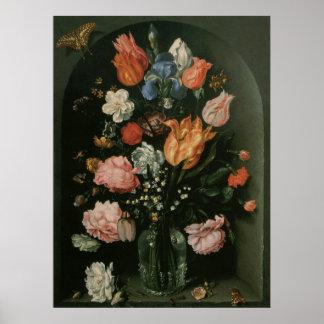 Poster Le baroque floral vintage, vase de fleurs dans un