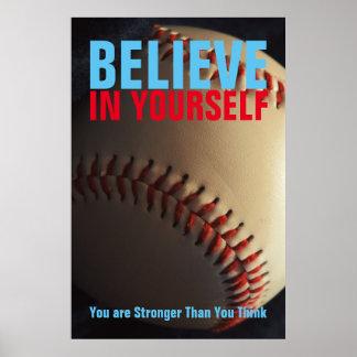 Poster Le base-ball de motivation croient en vous-même