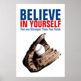 Poster Le base-ball de motivation croient en vous-même la