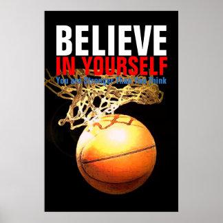 Poster Le basket-ball de motivation croient en vous-même