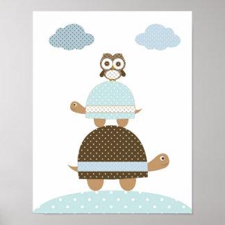 Poster Le bébé de hibou de Turle badine l'art de crèche