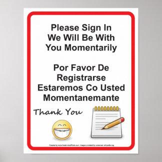 Poster Le bureau dentaire patient signent dedans le signe