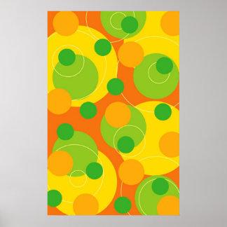 Poster Le cercle pétillant d'amusement de chaux colorée