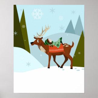Poster Le cerf commun et l'elfe de Noël sur les montagnes