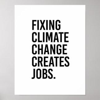 Poster Le changement climatique de fixation crée des