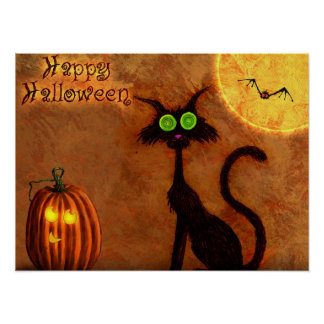 Poster Le chat d'Halloween -