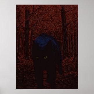 Poster Le chat d'ombre et la forêt rouge