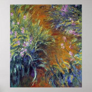 Poster Le chemin à travers les iris par Claude Monet