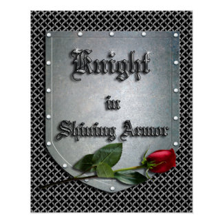 Poster Le chevalier dans le bouclier brillant d'armure