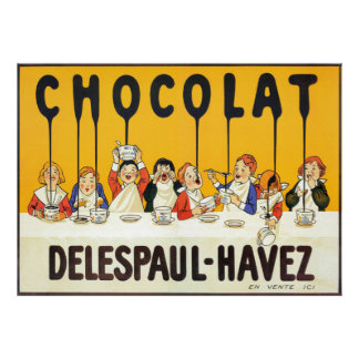 Poster Le chocolat français vintage badine l'affiche