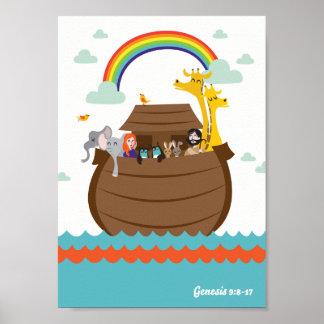 Poster Le chrétien heureux badine l'arche de Noé