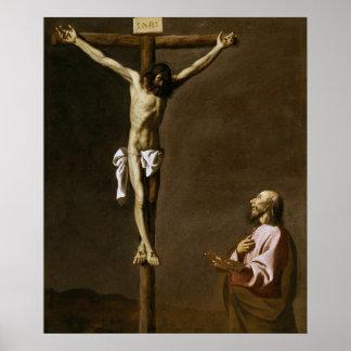 Poster Le Christ crucifié avec un peintre