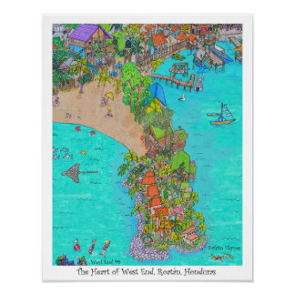Poster Le coeur du West End #9, Roatan, Honduras