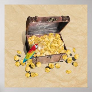 Poster Le coffre au trésor du pirate sur le papier de pli