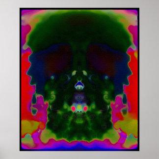 Poster Le crâne psychédélique Trippy caché décrit