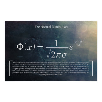 Poster Le de distribution normale - affiche de maths