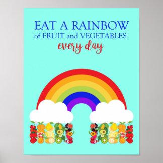 Poster Le diététicien mangent un fruit et un Veg sains