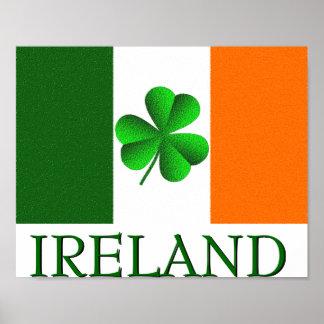 Poster Le drapeau de shamrock de l'Irlande d'Irlandais