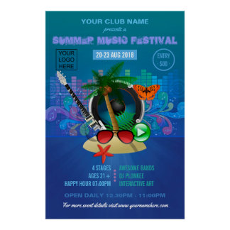 Poster Le festival de musique d'été de club ajoutent la
