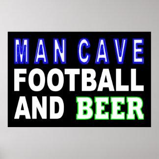 Poster Le football et bière de caverne d'homme
