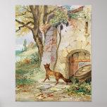 Poster Le Fox et les raisins, illustration pour