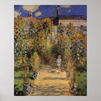 Poster Le jardin de l'artiste chez Vetheuil par Claude