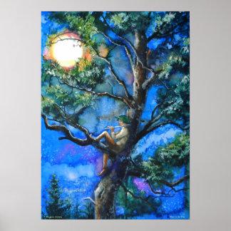 Poster Le joueur de pipeau dans le pin par P. Allingham