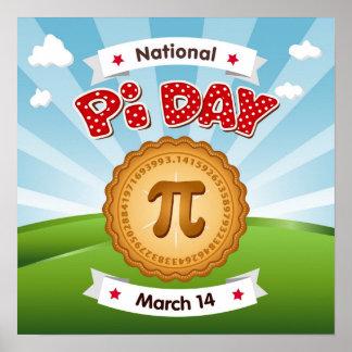 Poster Le jour de pi, célèbrent des maths, mangent le