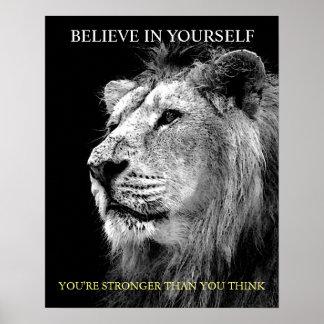 Poster Le lion de motivation à la mode croient en