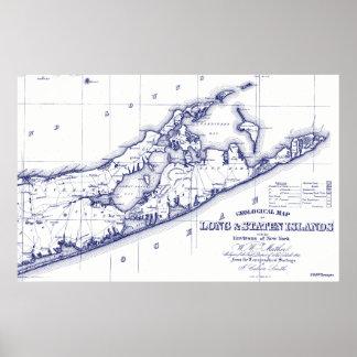 Poster Le Long Island la carte VC de Hamptons