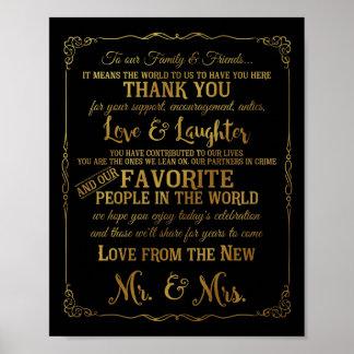 Poster le mariage élégant de table de Merci signe l'or