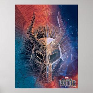 Poster Le masque tribal noir de la panthère | a recouvert