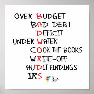 Poster Le mauvais exprime l'affiche drôle de comptabilité