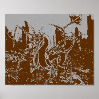 Poster Le monstre détruit l'affiche de ville