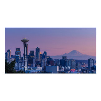 Poster Le mont Rainier à l'arrière-plan