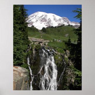 Poster Le mont Rainier et cascade