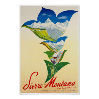 Poster Le Montana, Valais, Suisse, affiche de ski
