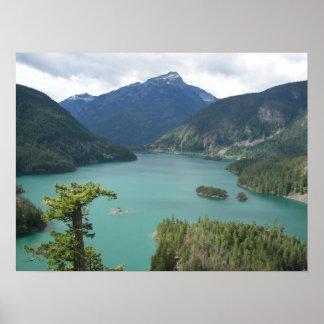 Poster Le nord cascade le paysage de lac diablo