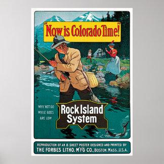 Poster Le Now est chemin de fer de système d'île de roche