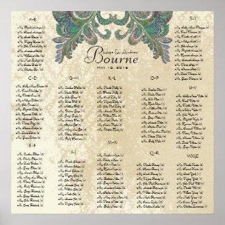 Poster Le paon colore - 100 à 150 invités - alphabétique