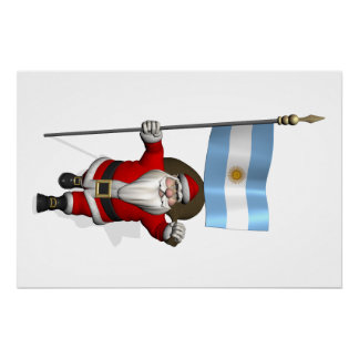 Poster Le père noël avec le drapeau de l'Argentine