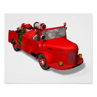 Poster Le père noël conduisant un camion de pompiers