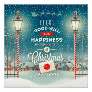 Poster Le père noël volant au-dessus de Noël Snowclad de