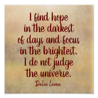 Poster Le plus foncé des jours -- Citation de Dalai Lama